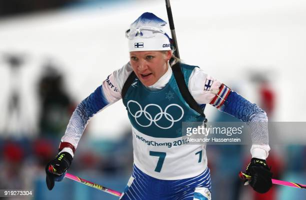 Kaisa Makarainen of Finland competes during the Women's 125km Mass Start Biathlon on day eight of the PyeongChang 2018 Winter Olympic Games at...