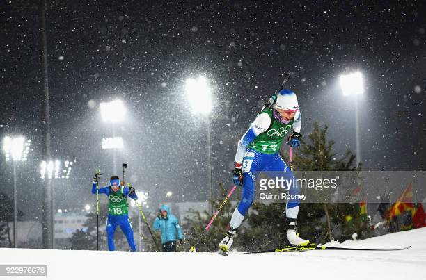 Kaisa Makarainen of Finland competes during the Women's 4x6km Relay on day 13 of the PyeongChang 2018 Winter Olympic Games at Alpensia Biathlon...