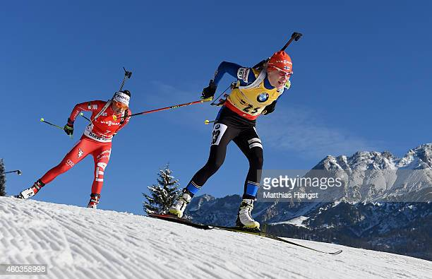Kaisa Makarainen of Finland competes during the women's 75 km sprint event during the IBU Biathlon World Cup on December 12 2014 in Hochfilzen Austria