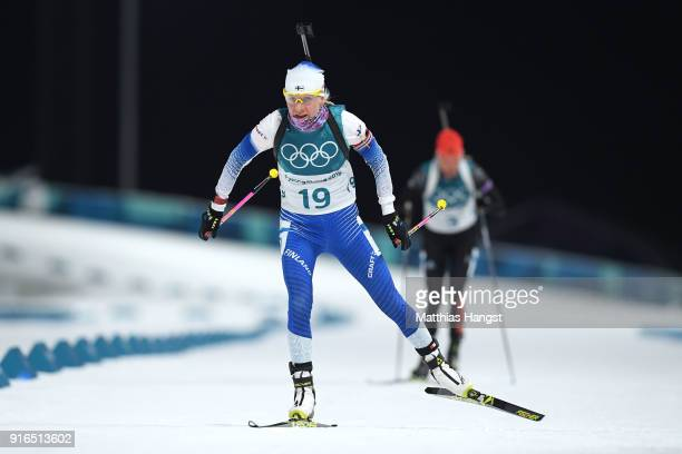 Kaisa Makarainen of Finland competes during the Women's Biathlon 75km Sprint on day one of the PyeongChang 2018 Winter Olympic Games at Alpensia...