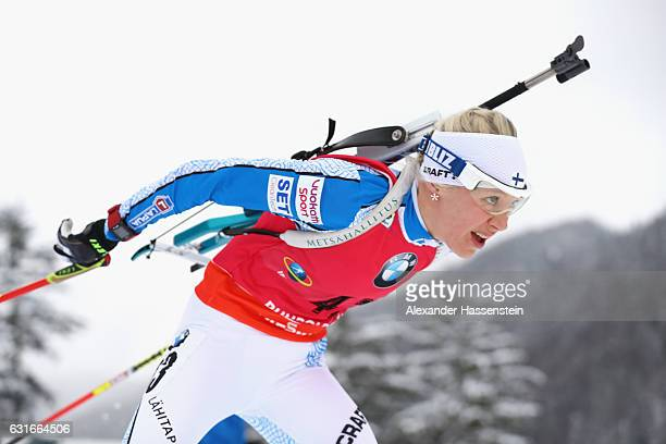 Kaisa Makarainen of Finland competes in the 7.5 km Women's Sprint during the IBU Biathlon World Cup at Chiemgau Arena on January 14, 2017 in...