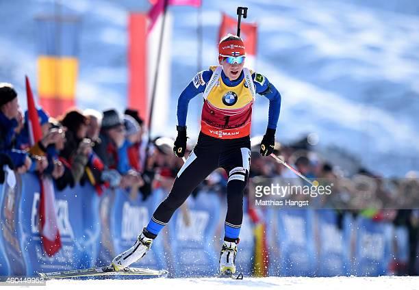 Kaisa Makarainen of Finland competes in the women's 10 km pursuit event during the IBU Biathlon World Cup on December 14, 2014 in Hochfilzen, Austria.