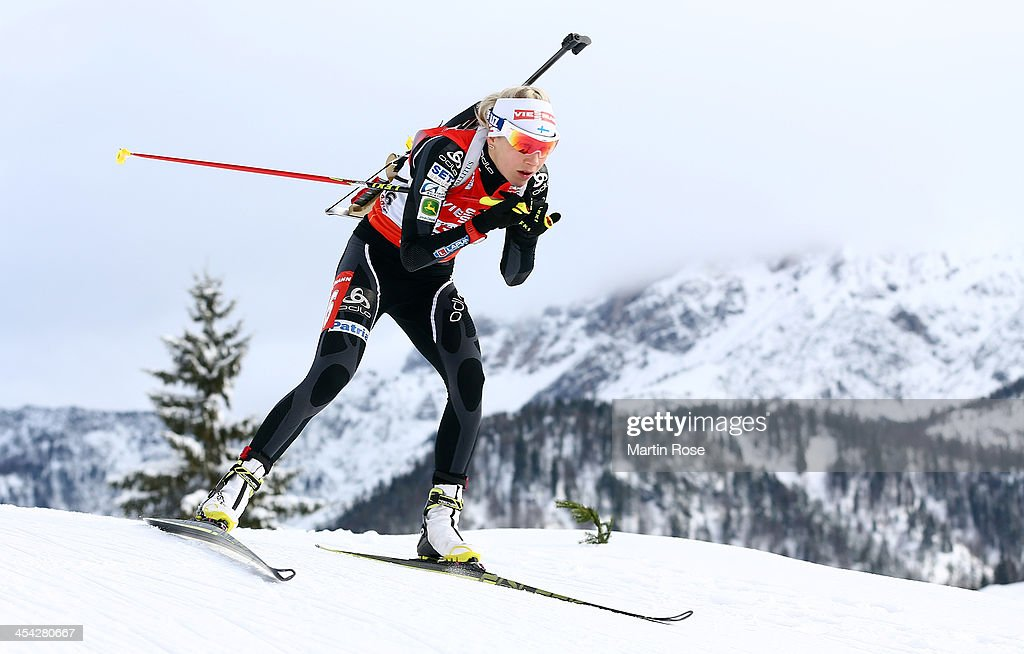 Kaisa Makarainen of Finland competes in the women's 10km pursuit event during the IBU Biathlon World Cup on December 8, 2013 in Hochfilzen, Austria.
