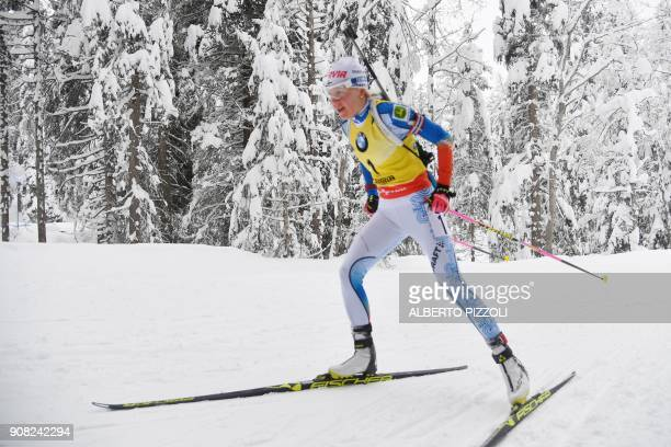 Kaisa Makarainen of Finland competes in the Women's 125 km Mass Start Competition of the IBU World Cup Biathlon in Anterselva on January 21 2018 /...