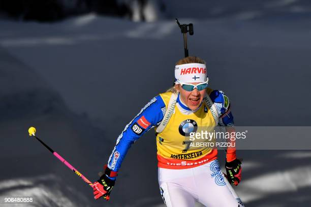 Kaisa Makarainen of Finland competes in the Women's 75km sprint competition of the IBU World Cup Biathlon in Anterselva on January 18 2018 Tiril...