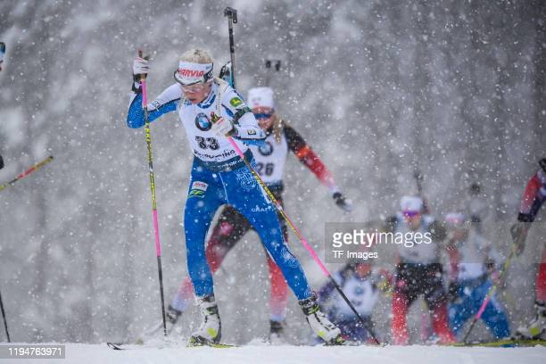 Kaisa Makarainen of Finland in action competes during the Women 10 km Pursuit Competition at the BMW IBU World Cup Biathlon Ruhpolding on January 19,...