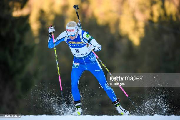 Kaisa Makarainen of Finland in action competes during the Women 7.5 km Sprint Competition at the BMW IBU World Cup Biathlon Ruhpolding on January 15,...