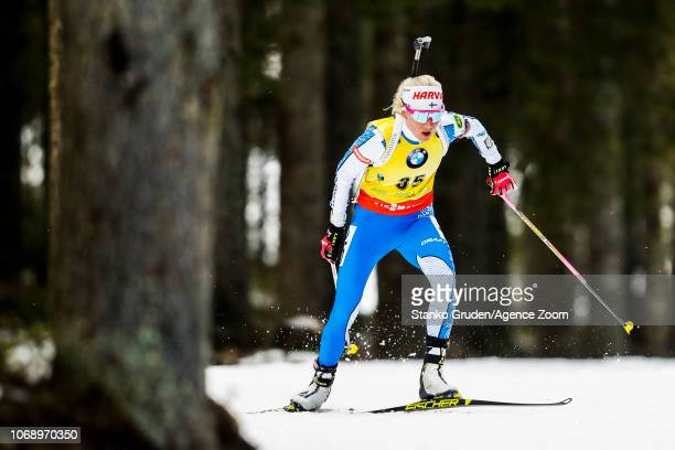 Kaisa Makarainen of Finland in action during the IBU Biathlon World Cup Women's 15km on December 6 2018 in Pokljuka Slovenia