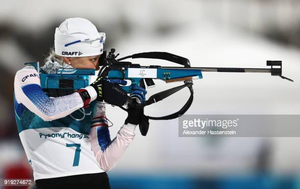 Kaisa Makarainen of Finland shoots prior to the Women's 125km Mass Start Biathlon on day eight of the PyeongChang 2018 Winter Olympic Games at...