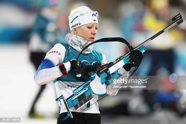 Kaisa Makarainen of Finland shoots prior to the Women's 12.5km Mass Start Biathlon on day eight of the PyeongChang 2018 Winter Olympic Games at...