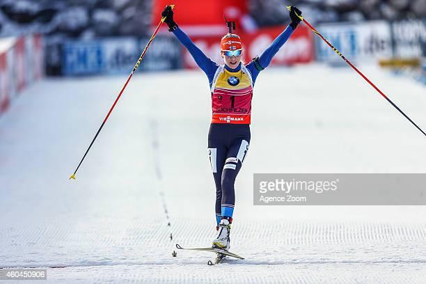 Kaisa Makarainen of Finland takes 1st place during the IBU Biathlon World Cup Men's and Women's Pursuit on December 14, 2014 in Hochfilzen, Austria.