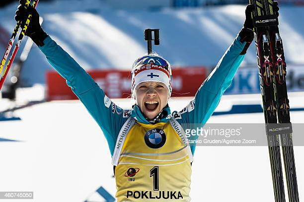 Kaisa Makarainen of Finland takes 1st place during the IBU Biathlon World Cup Men's and Women's Mass Start on December 21 2014 in Pokljuka Slovenia