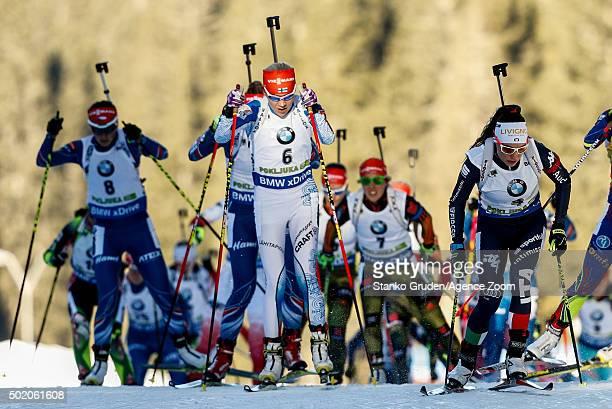 Kaisa Makarainen of Finland takes 1st place during the IBU Biathlon World Cup Men's and Women's Mass Start on December 20, 2015 in Pokljuka, Slovenia.