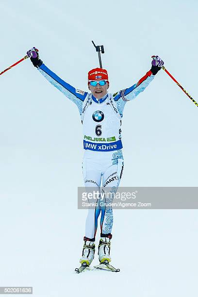 Kaisa Makarainen of Finland takes 1st place during the IBU Biathlon World Cup Men's and Women's Mass Start on December 20 2015 in Pokljuka Slovenia