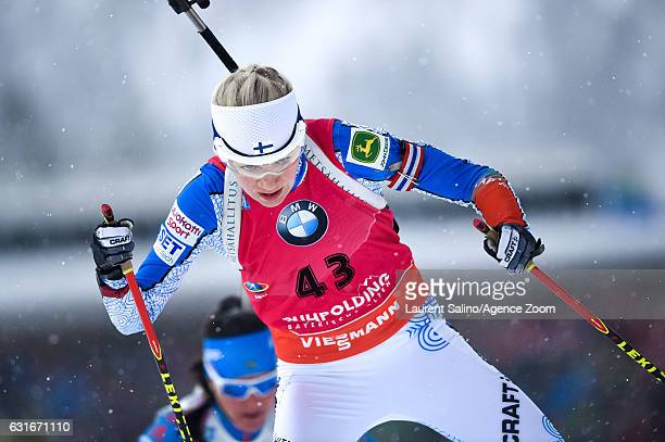 Kaisa Makarainen of Finland takes 1st place during the IBU Biathlon World Cup Women's Sprint on January 14, 2017 in Ruhpolding, Germany.