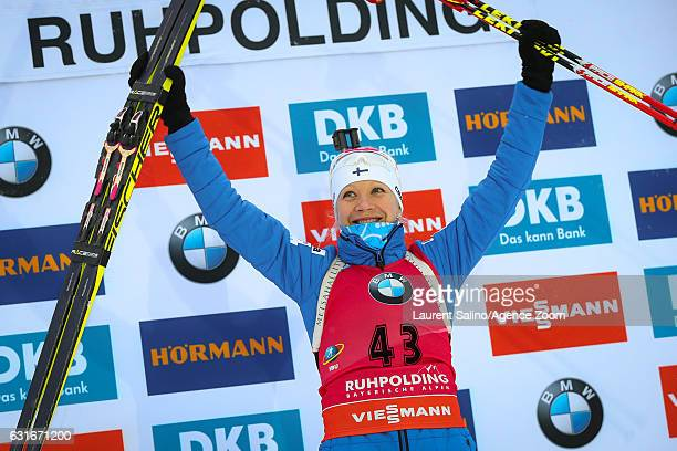 Kaisa Makarainen of Finland takes 1st place during the IBU Biathlon World Cup Women's Sprint on January 14 2017 in Ruhpolding Germany