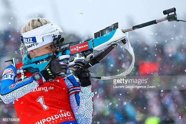 Kaisa Makarainen of Finland takes 1st place during the IBU Biathlon World Cup Men's and Women's Pursuit on January 15 2017 in Ruhpolding Germany