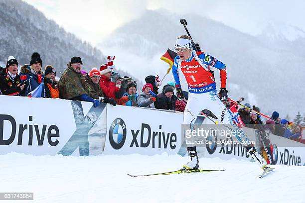 Kaisa Makarainen of Finland takes 1st place during the IBU Biathlon World Cup Men's and Women's Pursuit on January 15, 2017 in Ruhpolding, Germany.