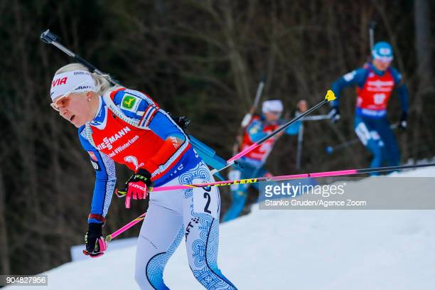 Kaisa Makarainen of Finland takes 1st place during the IBU Biathlon World Cup Men's and Women's Mass Start on January 14 2018 in Ruhpolding Germany