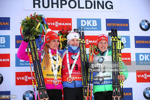 Kaisa Makarainen of Finland takes 1st place, Gabriela Koukalova of Czech Republic takes 2nd place, Laura Dahlmeier of Germany takes 3rd place during...