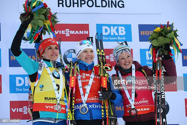Kaisa Makarainen of Finland takes 1st place Gabriela Koukalova of Czech Republic takes 2nd place Marie Dorin Habert of France takes 3rd place during...