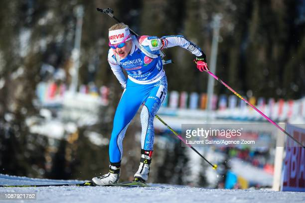 Kaisa Makarainen of Finland takes 2nd place during the IBU Biathlon World Cup Women's Sprint on January 24 2019 in Antholz Anterselva Italy