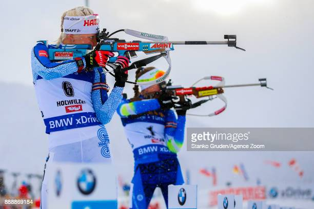 Kaisa Makarainen of Finland takes 2nd place during the IBU Biathlon World Cup Men's and Women's Pursuit on December 9 2017 in Hochfilzen Austria