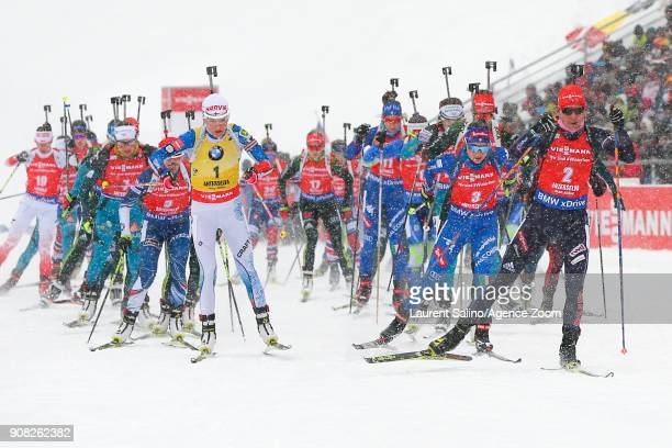 Kaisa Makarainen of Finland takes 3rd place Anastasiya Kuzmina of Slovakia takes 2nd place Dorothea Wierer of Italy competes during the IBU Biathlon...