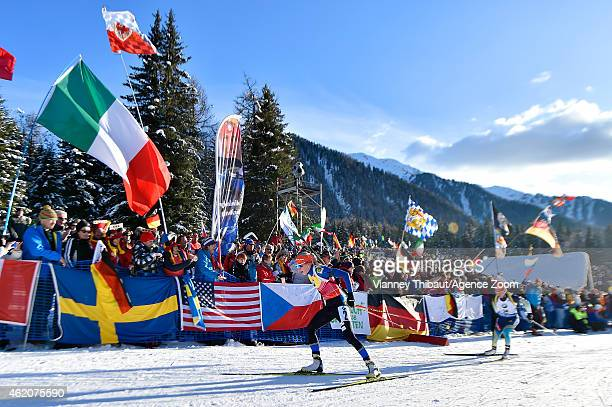 Kaisa Makarainen of Finland takes 3rd place during the IBU Biathlon World Cup Men's and Women's Pursuit on January 24 2015 in AntholzAnterselva Italy