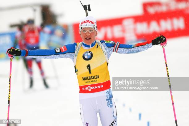 Kaisa Makarainen of Finland takes 3rd place during the IBU Biathlon World Cup Men's and Women's Mass Start on January 21 2018 in AntholzAnterselva...