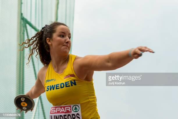 Kaisa Marie Lindfoss of Sweden competes in the discus throw during day one of the European Athletics U23 Championships at Kadriorg Stadium on July 8,...