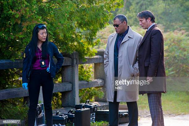 HANNIBAL Kaiseki Episode 201 Pictured Hettienne Park as Beverly Katz Laurence Fishburne as Jack Crawford Mads Mikkelsen as Dr Hannibal Lecter
