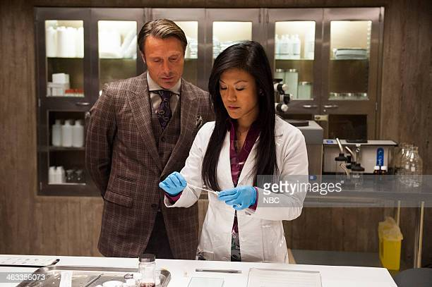 HANNIBAL Kaiseki Episode 201 Pictured Mads Mikkelsen as Dr Hannibal Lecter Hettienne Park as Beverly Katz