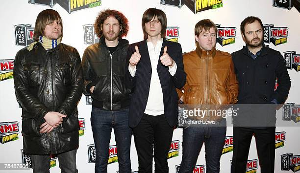 Kaiser Chiefs arrive at the Shockwaves NME Awards 2007 at the Hammersmith Palais in London United Kingdom