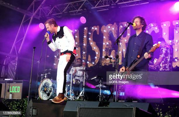 Kaiser Chiefs lead singer, Ricky Wilson and bass player, Simon Rix at the Pub during the Park's Drive In Garden Party at Knebworth Park.
