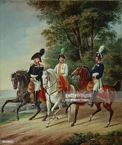 Kaiser Franz I Zar Alexander I Koenig Kriedrich Wilhelm III Watercolour by Johann Ernst Mansfeld and Johann Adam Klein 1816 [Die drei Monarchen zu...
