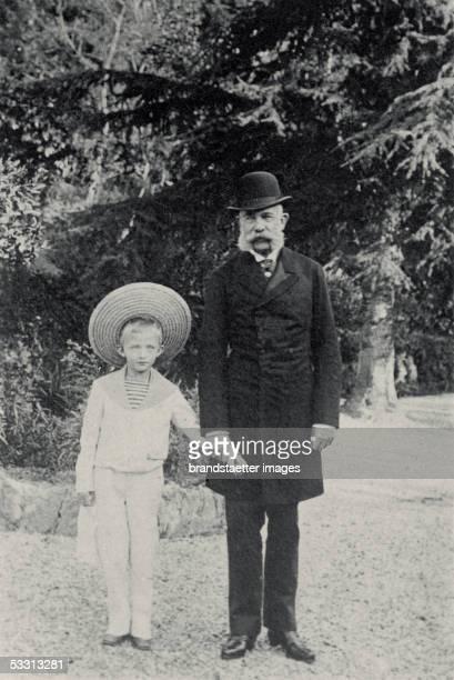 Kaiser Franz Joseph I. With his son Karl, emperor of Austria in Cannes, France. Photography taken by archduchess Maria Josepha. 1894. [Kaiser Franz...