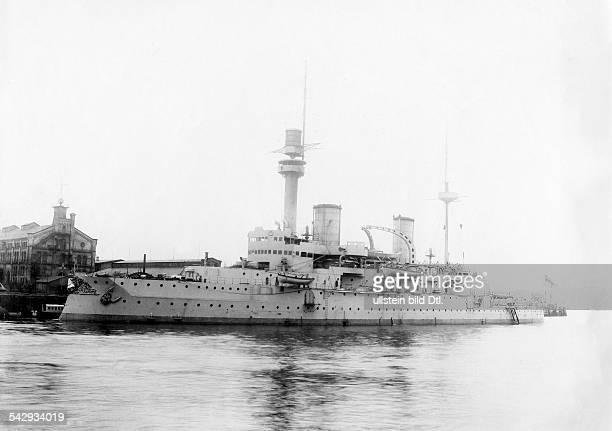 SMS Kaiser Friedrich III battleship laying at anchor Photographer A Renard Vintage property of ullstein bild