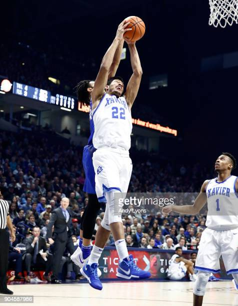Kaiser Gates of the Xavier Musketeers grabs a rebound against the Creighton Bluejays at Cintas Center on January 13 2018 in Cincinnati Ohio