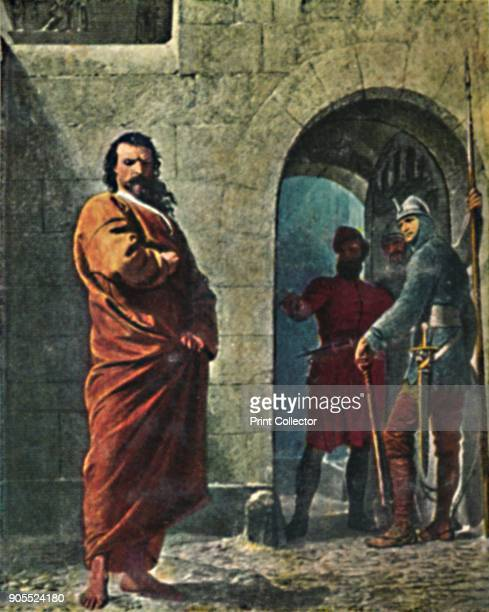 'Kaiser Heinrich IV 10501106' 1934 Henry IV of Germany outside the gates of Canossa Italy 1077 Barefoot clad in a hair shirt Henry appeared before...