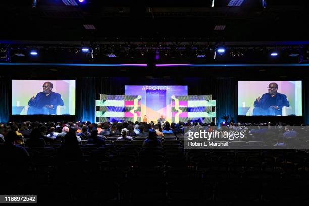 Kaiser Permanente CEO Bernard Tyson and Blavity Inc CEO Morgan DeBaun attend AfroTech 2019 at Oakland Marriott City Center on November 09 2019 in...