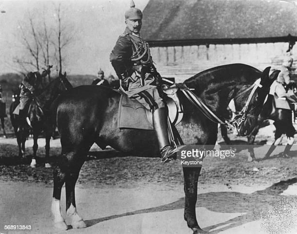 Kaiser Wilhelm II pictured on horseback on the battlefield in Feldgrau General's uniform Germany circa 1900