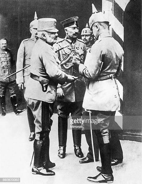 Kaiser Wilhelm II seen here with Grand Duke Friedrich of Austria at an Iron Cross medal ceremony during a tour of the Eastern Front. Circa June 1915