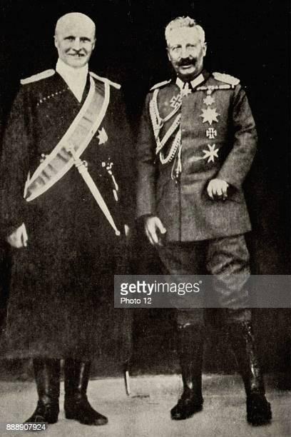 Kaiser Wilhelm II with Pavlov Skoropadsky the Hetman of the Ukraine Note the Kaiser's withered left arm