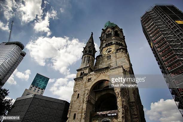 kaiser wilhelm memorial church, iconic landmark in breitscheidplatz square, west berlin - kurfürstendamm stock pictures, royalty-free photos & images