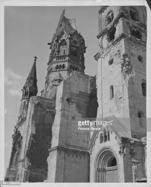 Kaiser Wilhelm Memorial Church still partially in ruins following allied bombing raids during World War Two Berlin Germany circa 1945