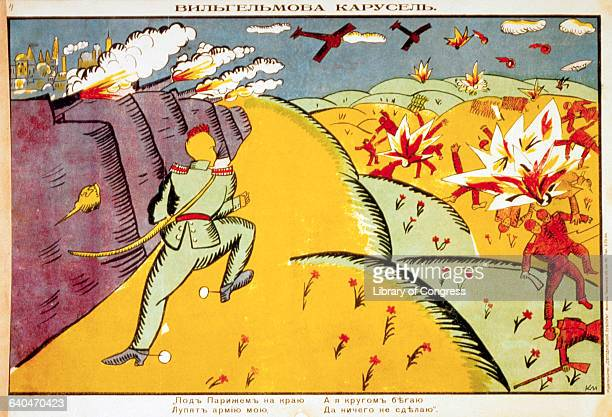 Kaiser Wilhelm the German emperor stands on a battlefield with exploding cannons and fighter planes overhead killing Russian soldiers The caption...