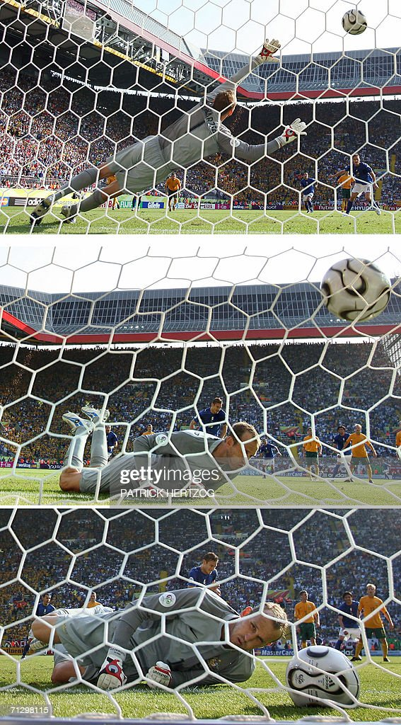 Combination of three pictures showing Australian goalkeeper Mark Schwarzer (L) failing to block a penalty kick scored by Italian midfielder Francesco Totti (back-C) during the round of 16 World Cup football match between Italy and Australia at Kaiserslautern's Fritz-Walter Stadium, 26 June 2006. Italy won the match 1-0.