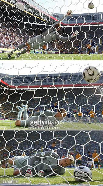 Kaiserslautern, GERMANY: Combination of three pictures showing Australian goalkeeper Mark Schwarzer failing to block a penalty kick scored by Italian...
