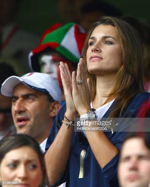 Czech model Alena Seredova girlfriend of Italian goalkeeper Gianluigi Buffon applauds at the start of the round of 16 World Cup football match...